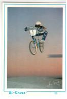 CPM COUREUR CYCLISTE CYCLISME VELO BI CROSS FIGURE SEUL COUCHER DE SOLEIL  SIGNEE ED AS - Cyclisme