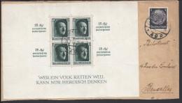 ALLEMAGNE -1937-Affranchissement Rare Maréchal Hindenburg + Bloc-feuillet N° 10, Sur Enveloppe De Dresden Vers Bruxelles - Deutschland