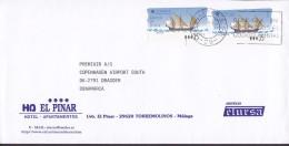 Spain EL PINAR HOTEL, MALAGA 1998 Cover Letra Denmark 2x ATM / Frama Labels Barcos De Epoca Schiff Ship - Poststempel - Freistempel