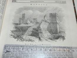Badajoz Schloss Castle Bloquear Spain Engraving Print 1838!!! - Estampas & Grabados