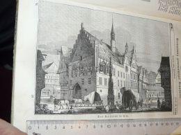 Ulm Rathaus Gerrmany Engraving Print 1838!!! - Prints & Engravings