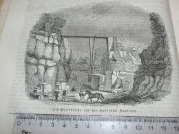 Isle Of Portland Quarries England Engraving Print 1838!!! - Prints & Engravings