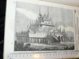 Myanmar Burma Temple Engraving Print 1838!!! - Prints & Engravings