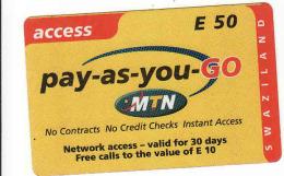 Swaziland Prepaid MTN Card E 50 - Swaziland