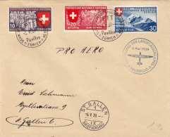 SCHWEIZ 1939 - 3 Fach Frankierung (Italienische Ausgabe Ank352+353+354) Auf Brief Anläßlich Rot Kreuz MELDEFLUG - ... - Schweiz