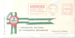MACHINES D'AFFRANCHISSEMENT - PRIMERA EXPOSICION NACIONAL DE FRANQUEOS MECANICOS FRAMA SEAT AÑO 1974 INSTITUCIONAL - 1931-Oggi: 2. Rep. - ... Juan Carlos I