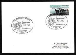 Germany: Postcard, 1987, Single Franking Wild Horses, Special Cancel March International Police Association (back Empty) - Brieven En Documenten