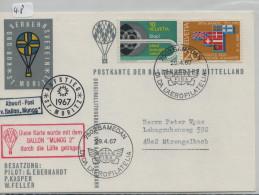 Switzerland 1966, Ballonpostkarte, Ballon Mungg 2 - Samedan FISA 29.4.1967 - Aufstieg St. Moritz (48) - Primi Voli