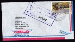 Venezuela: Registered Airmail Cover To Germany, 1975, Single Franking, Battle Of Junin, Military History (traces Of Use) - Venezuela