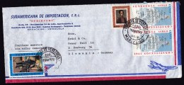 Venezuela: Airmail Cover To Germany, 1972, 4 Stamps, Constitution, Bolivar, Olmedo, History (roughly Opened) - Venezuela