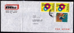 Venezuela: Airmail Cover To Germany, 1977, 3 Stamps, Industry, Christmas (fold) - Venezuela