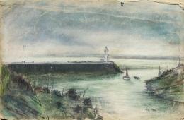 Lavoine Robert (1916-1999) - Pastel  - La Jetée De Honfleur 14 Calvados - Aquarelles
