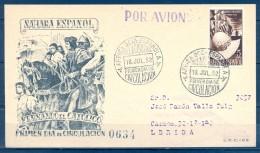 1952 , SAHARA ESPAÑOL , SOBRE DE PRIMER DIA CIRCULADO A LÉRIDA , LLEGADA , ED. 97 , FERNANDO EL CATÓLICO - Sahara Español