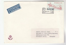 1973 Air Mail  SWEDEN COVER Stamps REINDEER SLEDGE To Switzerland Airmail Label Deer - Sweden