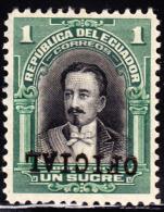 Ecuador 1924 1s Moreno OFICIAL Overprint Inverted. Scott OO166. MH. - Equateur