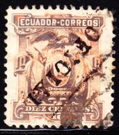 Ecuador 1896 10c OFICIAL  Overprint Inverted. Scott O4. Used. - Ecuador