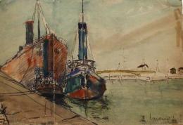 Lavoine Robert (1916-1999) - Pastel Et Encre  - Bâteaux à Quai Dans Le Port D'Ouistreham 14 Calvados - Aquarelles