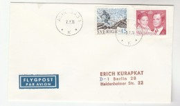 1976 Air Mail Alingsas SWEDEN COVER Stamps  To Germany Airmail Label - Sweden