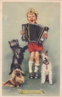 Kind Enfant Pekinees Foxterriër Musician Musicien Hond Chien Dog Humor Humour Harmonica Accordion Accordéon Akkordeon - Kinder