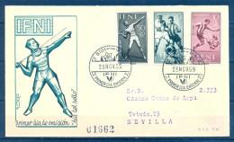 1959 , IFNI , ED. 156/158 , SOBRE PRIMER DIA  , DIA DEL SELLO , CIRCULADO A SEVILLA , LLEGADA CARTERIA - Ifni
