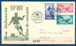 1961 , IFNI , ED. 176/178 , SOBRE PRIMER DIA  , PRO INFANCIA , CIRCULADO A SEVILLA , LLEGADA CARTERIA - Ifni