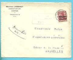 BZ3 Op Brief Met Duitse Brugstempel VIRTON  (VK) - Guerre 14-18