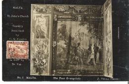 St. John's Church, Malta Tapestry The Four Evangelists  Slight Crease RPPC - Malta