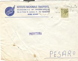 INT - ISTITUTO NAZIONALE TRASPORTI, DELEGAZIONE F.S. - ROMA,1972, BUSTA COMMERCIALE CON LOGO, NOTA STORICA - Railway