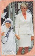 Télécarte Japon - PRINCESSE PRINCESS LADY DIANA & MERE TERESA / ENGLAND Albania India - Japan Phonecard - 26 - Personnages