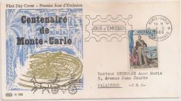 Cover FDC Circulated 1966 - Monaco Centenaire De Monte Carlo - Premier Jour D´Emission - Casino - FDC