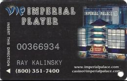 Imperial Palace Casino Las Vegas, NV - 4th Issue Slot Card - No Mfg Mark & 9mm Mag Stripe - Casino Cards