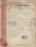 Facture Avec Timbre Taxe Des Ets F Pelisssier Parfumerie En Gros à Lyon Le 27 /12/1945 - France