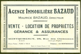 BUVARD - AGENCE IMMOBILIÈRE BAZAUD - MONTMORENCY - Buvards, Protège-cahiers Illustrés