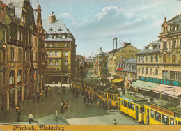 Offenbach Am Main Marktplatz Tram Shops Commerce Very Animated Square Postcard - Offenbach