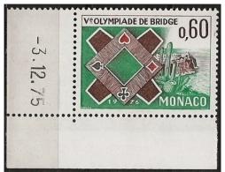 Monaco: Angolo Datato, Coins Datés, Corners Dated, Olimpiade Di Bridge, Olympiade De Bridge, Olympiad Bridge - Giochi