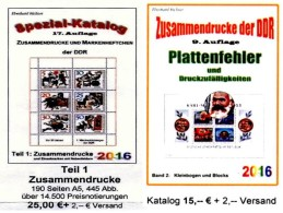 DDR/GDR Teil 1+5 RICHTER 2016 Zusammendrucke+Abarten Blocks/Kleinbogen New 40€ Se-tenant Error Special Catalogue Germany - Literatur