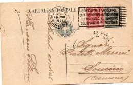 1921 CARTOLINA CON ANNULLO MILANO + TARGHETTA - Ganzsachen