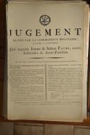 AFFICHE REVOLUTION. FAC-SIMILÉ - 33 - JUGEMENT RENDU PAR LA COMMISSION MILITAIRE SÉANTE A LIBOURNE. QUI ACQUITTE JEANNE - Affiches