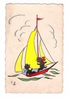 Illustration Illustrateur Til Chat Sur Un Voilier , Carte Non Voyagée - Andere Illustrators