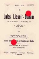 Liége Longdoz 1909 Catalogue Jules Lissoir Debeur Travail Mécanique Du Bois - Pubblicitari