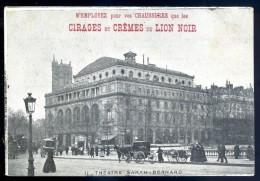 Cpa Publicité -- Cirages Et Crèmes Du Lion Noir -- Théâtre Sarah Bernard   LIOB60 - Publicité