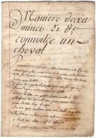 VP4343 - Equitation - Manière D'examiner Et De Connaitre Un Cheval - Manuscripten