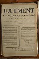 AFFICHE REVOLUTION. FAC-SIMILÉ - 53 - JUGEMENT DE LA COMMISSION MILITAIRE SÉANTE À BORDEAUX, QUI ACQUITTE BERAUD, TUILI - Affiches