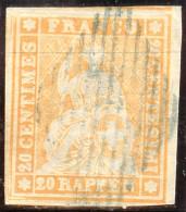 Schweiz Strubel 20Rp. Gr.SF Zu#25B1 Blaue Raute - 1854-1862 Helvetia (Ungezähnt)