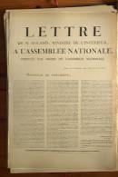 AFFICHE REVOLUTION. FAC-SIMILÉ - 77 - LETTRE DE M. ROLAND MINISTRE DE L'INTÉRIEUR, A L'ASSEMBLÉE NATIONALE, ..PARIS LE - Affiches