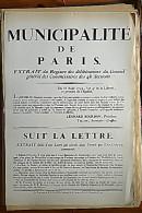 AFFICHE REVOLUTION. FAC-SIMILÉ - 78 - MUNICIPALITÉ DE PARIS. EXTRAIT DU REGISTRE DES DÉLIBÉRATIONS DU CONSEIL GÉNÉRAL D - Affiches