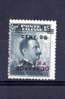 1916 LEVANTE VALONA EFFIGIE 30 PA SU 20 SU 15 CENT MNH **GOMMA INTEGRA - European And Asian Offices