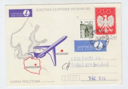 Poland OLYMPIC GAMES MOSCOW AIRMAIL POSTAL CARD 1980 - Ete 1980: Moscou