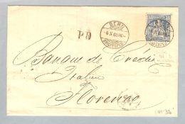 Schweiz Sitzende Bern 1868-10-06 Brief Zu#41b Reinblau Nach Florenz - Lettres & Documents