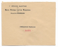 ENVELOPPE 1er Region Maritime  Arsenal CHERBOURG - 1921-1960: Moderne